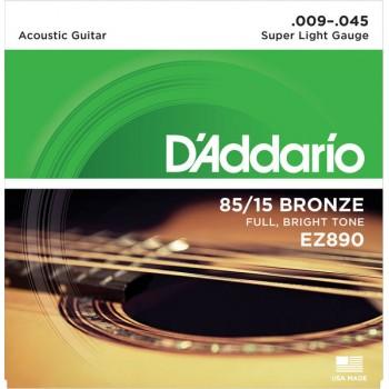 D'Addario Cuerdas Guitarra Acústica Súper Blandas, 9-45