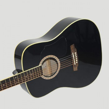 Kapok Guitarra Acústica Folck Cuerdas Acero, Negro